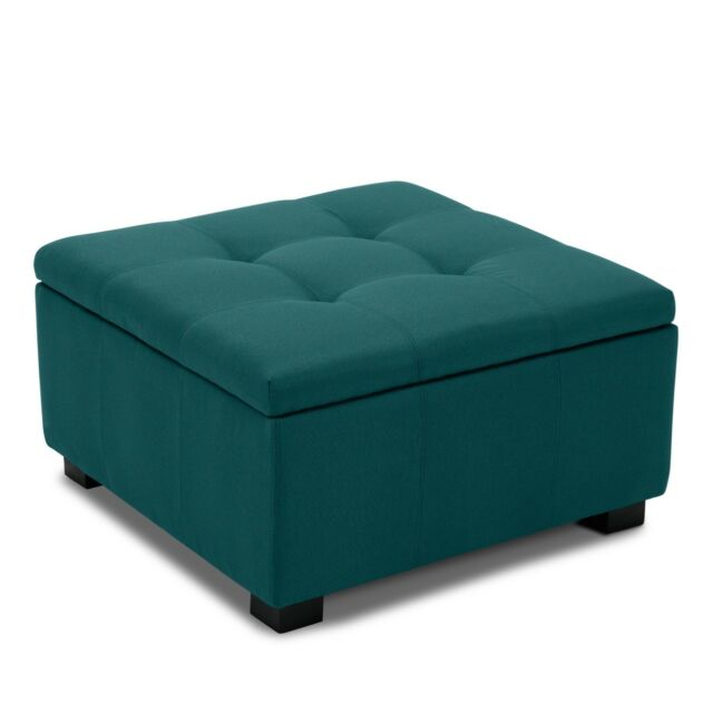 Vintage Style Living Room Bedroom Squared Storage Tufted Ottoman Bench, Blue