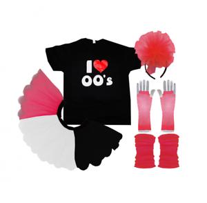 I Love 00/'s Fancy Dress T-Shirt Tutu Skirt Year 2000 Hen Party Music Festival