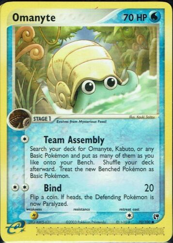Pokémon Trading Card Game ex tormenta de arena nr 70//100 omanyte inglés