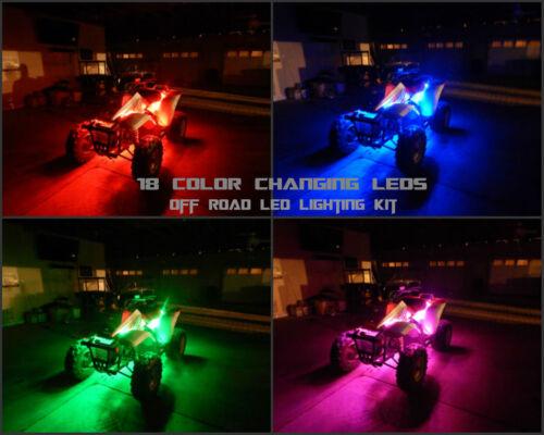 18 Color Change Led YXZ1000R ATV UTV Quad 4 Wheeler 8pc Led Under Body Glow Kit