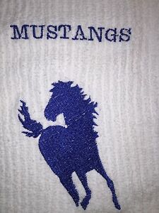 Embroidered White Hand Towel and Wash Cloth Set- SPORTS 'MUSTANGS' IN BLUE H0258