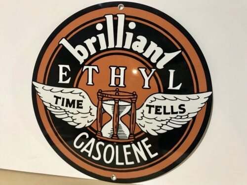 Johnson Winged Ethyl Gasolene advertising round sign garage oil gas Gasoline