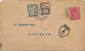 Lettre-London-One-Penny-Taxe-French-France-Cover-Brief-England-Great-Britain