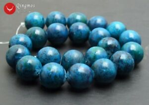 """Round Green Chrysocolla Stone Beads For Jewelry Making Loose Beads Strand 15/""""DIY"""