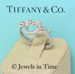 e3f6ad621 Tiffany & Co. Elsa Peretti Open Heart Diamond & Platinum Ladies Ring ...