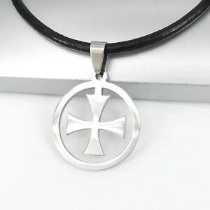 Silber-Templer-Kreuz-Edelstahl-Anhaenger-3mm-Schwarz-Leder-Halskette-Damen-Herren
