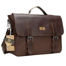 Vintage Leather Mens Messenger Bag Satchel Briefcase Laptop College Shoulder Bag