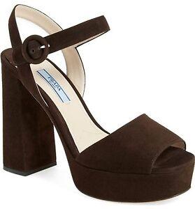 0dcb80dad66 NIB  820+ PRADA Block Heel Platform Ankle Strap Sandal Shoe Brown ...