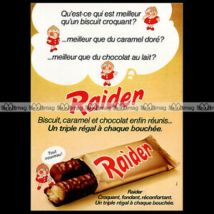 RAIDER-1974-Chocolate-Candy-Bar-Biscuits-Ex-French-TWIX-Pub-Publicite-Ad-A682