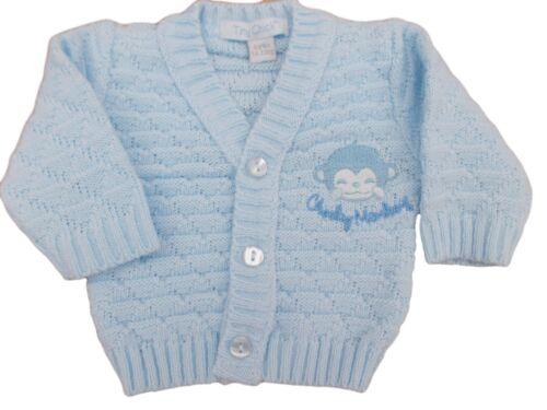 BNWT Tiny baby Premature Preemie cheeky  monkey knitted cardigan 3-5 5-8lb