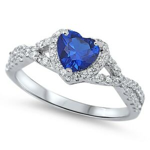 Solitaire Heart Blue Simulated Sapphire .925 Sterling Silver Toe Ring