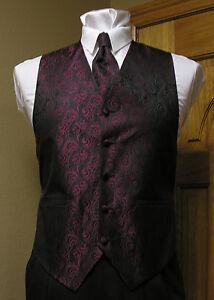 Burgundy Vest Men Wine Necktie or Bowtie Imperial Waistcoat Spencer J's Wedding