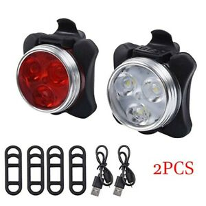 USB Rechargeable Cycling Bicycle Bike 3 COB LED Head Front Rear Tail Light Lamp