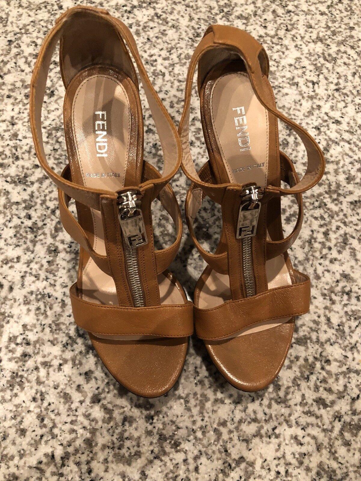 FENDI Zip Gladiator Tan Leather Platform Slingback Slingback Slingback Sandals démarrageies chaussures 36.5 7b02df