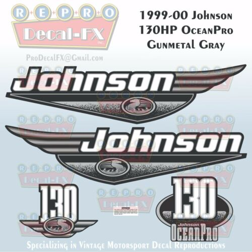 1999-00 Johnson 130 HP OceanPro Gunmetal Grey Outboard Repro 4 Piece Vinyl Decal