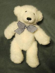 "APPLAUSE WHITE TEDDY BEAR WITH CHECKER BLACK/WHITE BOW 9"" STUFFED ANIMAL PLUSH"