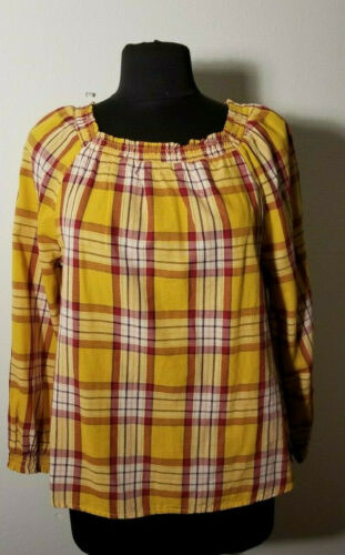 Old Navy Plaid Square Neck Gauze Top NWT