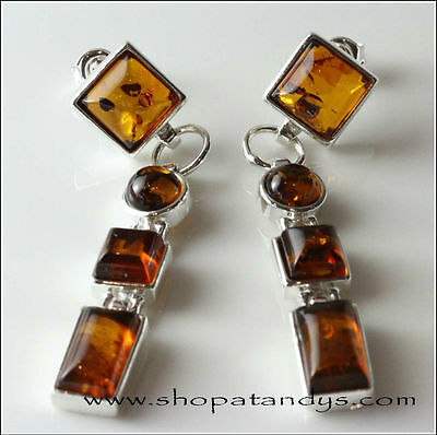 MAGNIFICENT GENUINE COGNAC BALTIC AMBER 925 STERLING SILVER EARRINGS