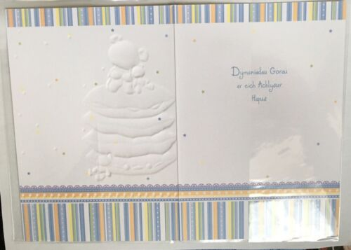 Details about  /Man Bach Llongyfarchiadau Welsh Greeting Card New Baby Boy Birth