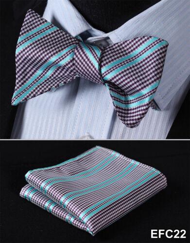 Paisley Floral Mens 100/% Silk Bow Ties Wedding Self Bow Tie handkerchief Set EFC