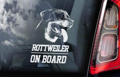 V01 Rottweiler on Board Car Window Sticker Rottie Beware of Dog Sign Decal