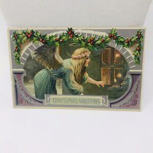 Vintage-Postcard-1909-Angel-Christmas-Greetings-Antique