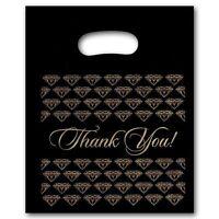 200 Small Black Thank You Merchandise Plastic Retail Bags 7 X 9 Tall
