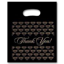 100 Small Black Thank You Merchandise Plastic Retail Handle Bags 7 X 9 Tall
