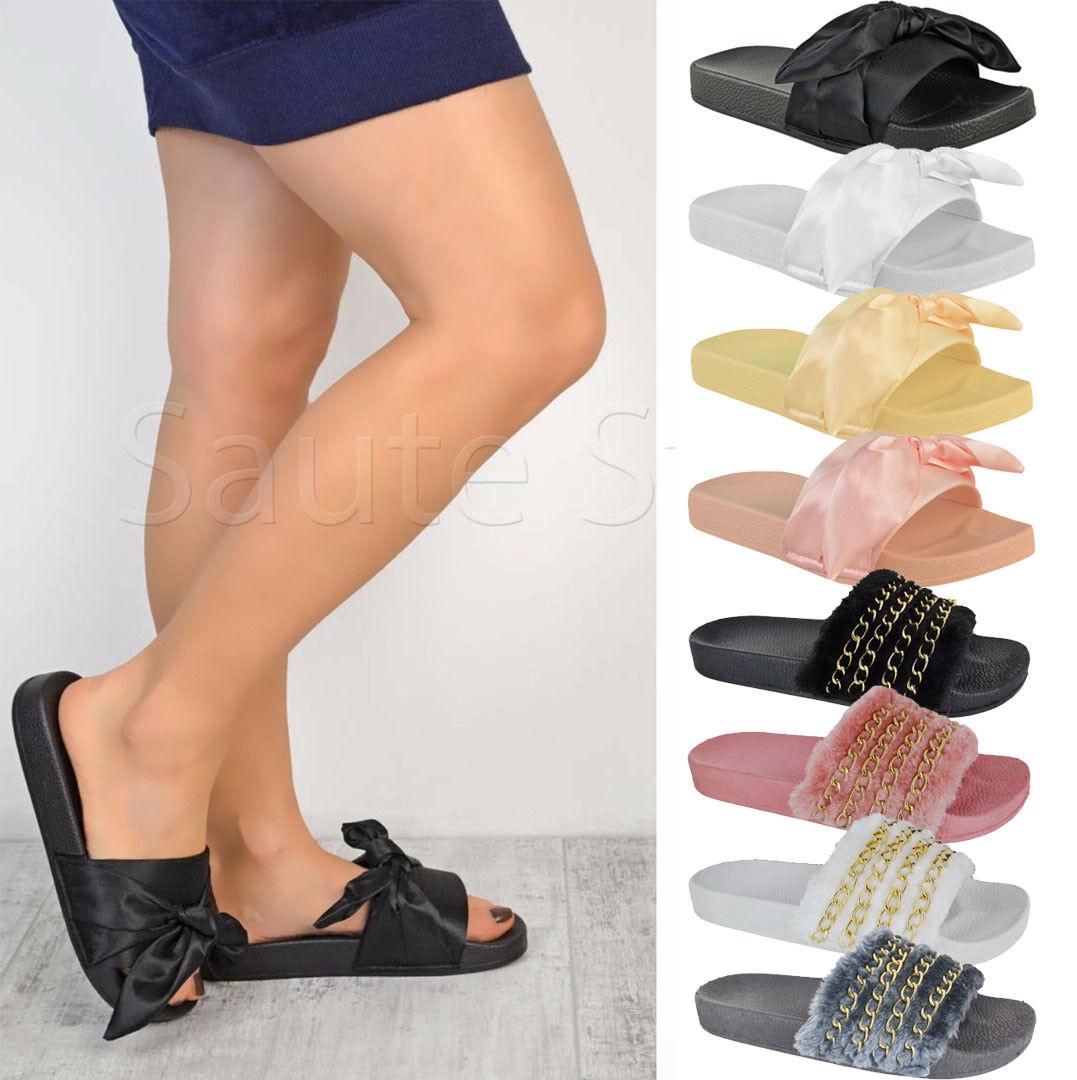 Ladies Women Summer Fluffy Farrah Fur Rubber Slip Shoes On Sliders Mules Sandals Shoes Slip c185a5