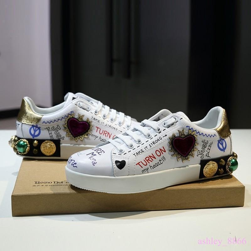 Luxury donna  Rivet Rhineston Lace Up Real Leather scarpe da ginnastica Board scarpe 2019  la migliore selezione di