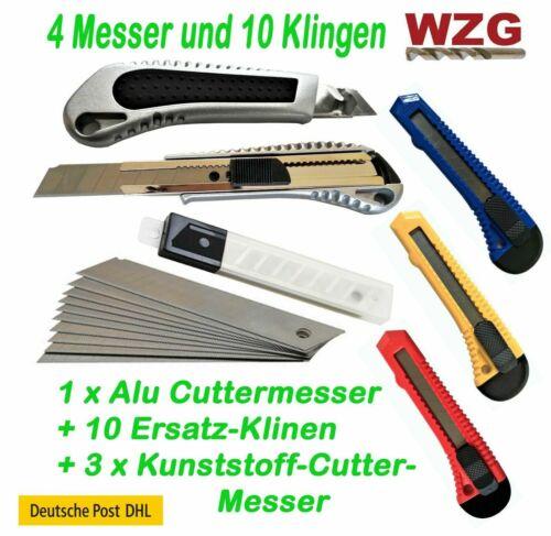 Cuttermesser Kattermesser Messer Teppichmesser 4 Stück 18mm 10 Klingen
