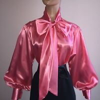 Coral Shiny Liquid Satin Vtg Stl Bow Blouse Top High Neck Shirt S M L 1x 2x 3x