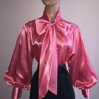 Coral Shiny Liquid Satin Vtg Stl Bow Blouse Top High Neck Shirt S M L 1x 2x 3x