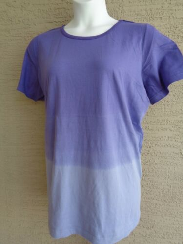 Only Necessities by Woman Within L 18-20 Purple Dip Dyed Crew Neck Tee Top Plus