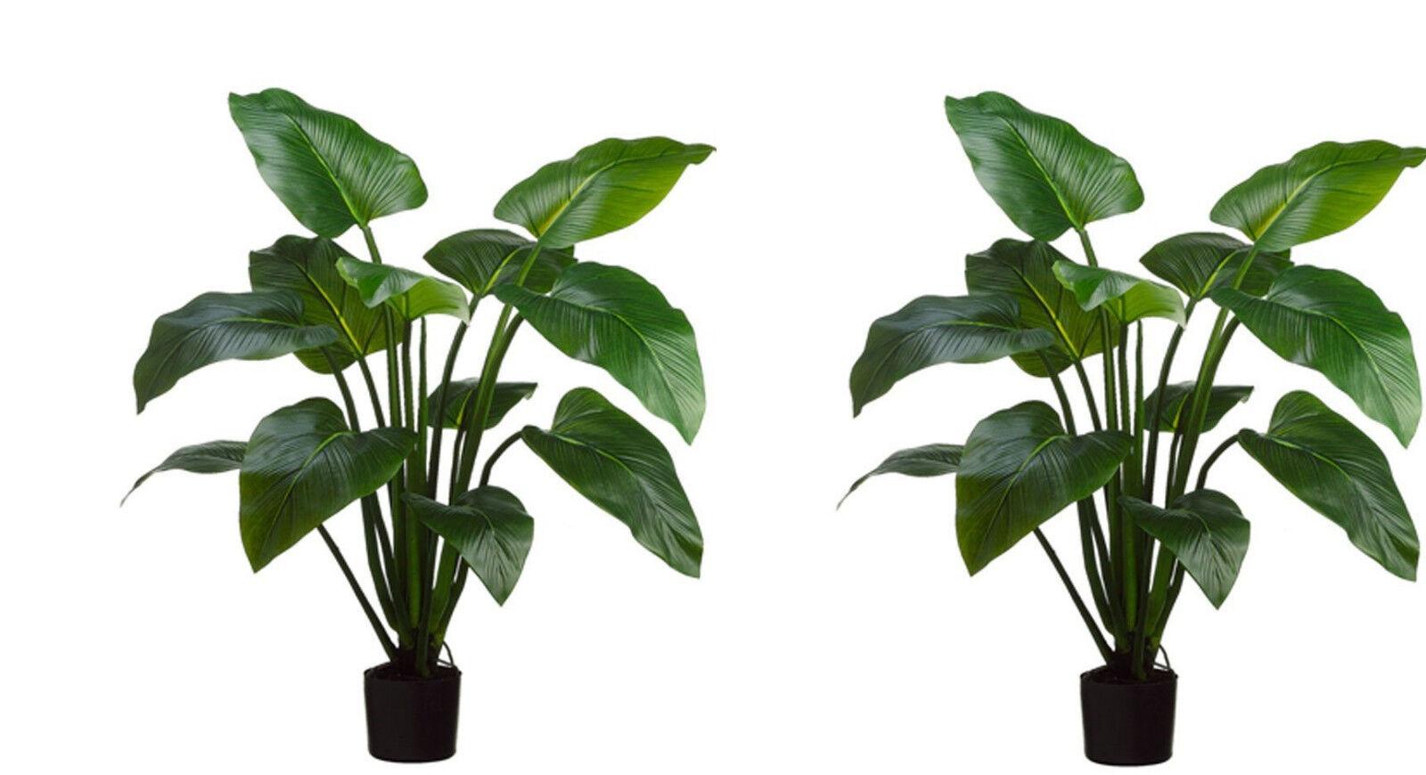 2 ARTIFICIAL PLANT 4' OUTDOOR UV PALM TREE TOPIARY EVA CURCUMA 5 3 6 POOL PATIO