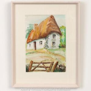 Irish-Art-JUNE-JACKSON-Cottage-at-Ferns-Co-WEXFORD-Original-Watercolour-Painting