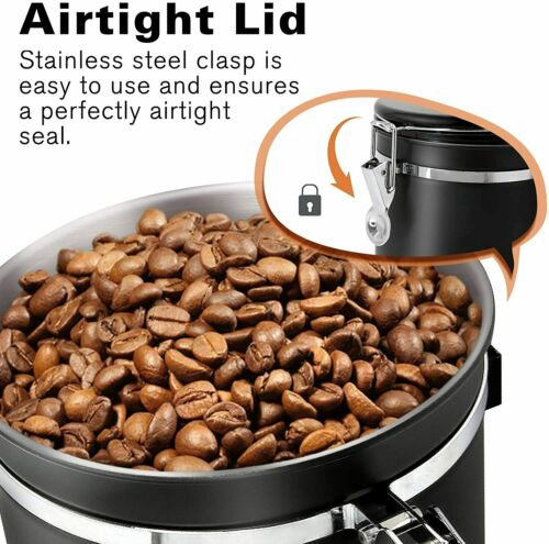 1.8L Airtight Stainless Steel Coffee Container Storage Canister Scoop CO2 Valves