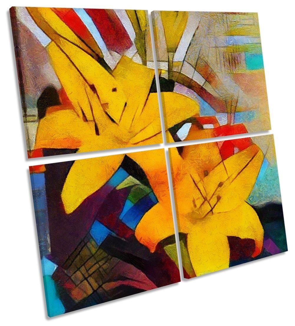 Flores amarillas Cuadrado Floral De Lona Pared Arte Cuadrado amarillas REPRO Multi Arte fe1889
