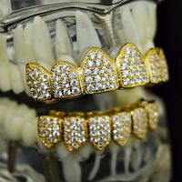18k Gold Plated Grillz Set Cz Iced-out Cubic Bling High Quality Micro Pave Teeth
