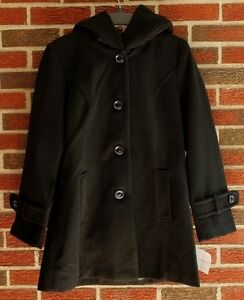 NEW WOMENS CROFT & BARROW BLACK COAT WITH HOOD SZ M,XL NWT $180