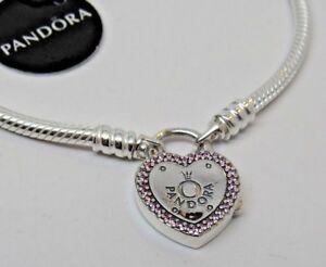 cbf9dfe27 17 CM Pandora Lock Your Promise Bracelet Heart Clasp 596586FPC Box ...