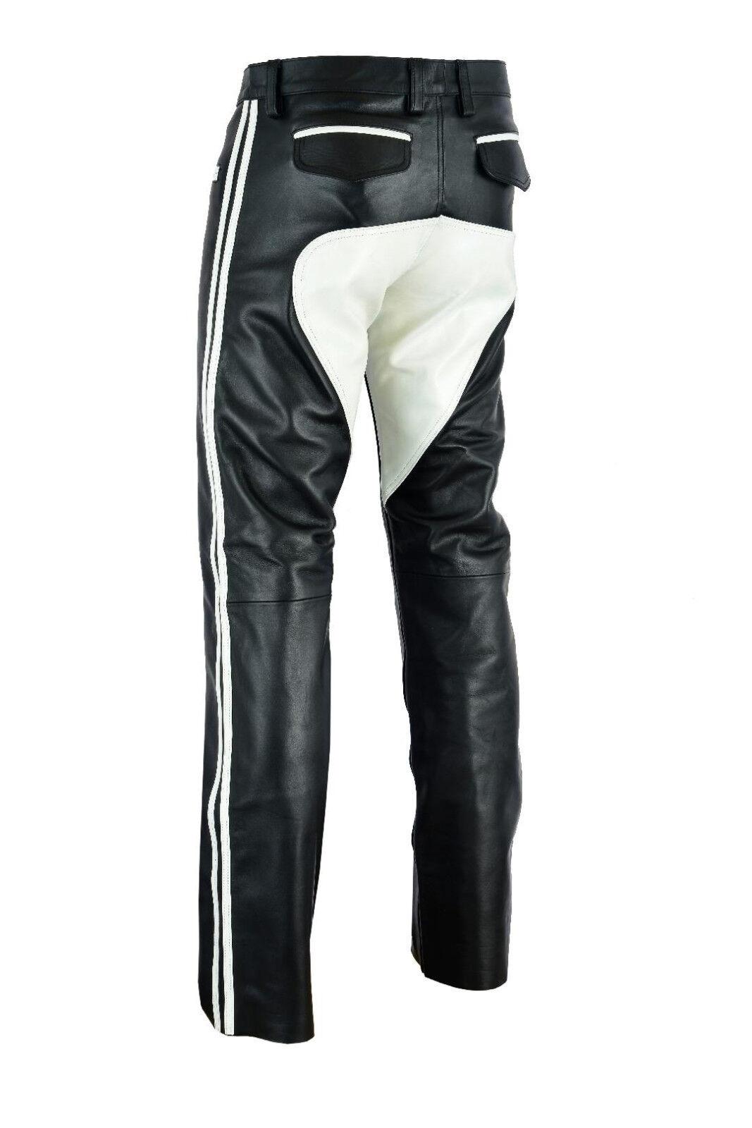 722 Leder hose mit Weissen besatz Sattel,Reithose,Lederhose,pantalon Gr.30W