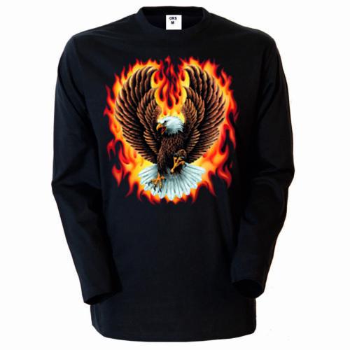/& Naturmotiv Modell Adler in Flammen Longsleeve//Langarmshirt Schwarz Adler Tier