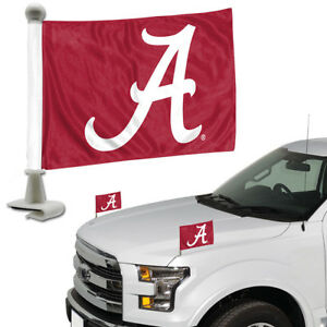 Alabama-Crimson-Tide-Set-of-2-Ambassador-Style-Car-Flags-Trunk-Hood