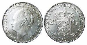NIEDERLANDE-KM-165-2-1-2-Gulden-Wilhelmina-1937-in-VZ-STG-447037