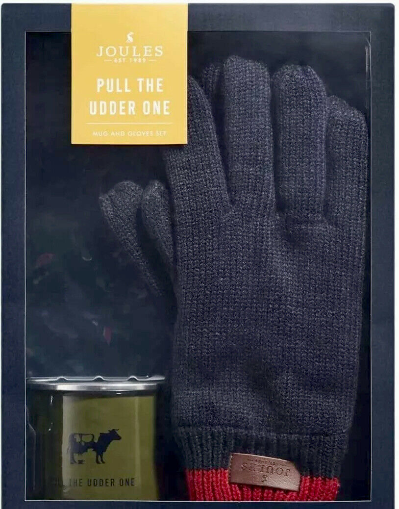 NEW Joules - Enamel Mug And Gloves Gift Set For Him - 'Pull The Udder One' navy