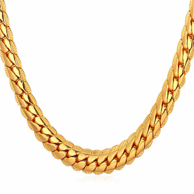 c15b882e0e6a7 High Quality Chunky Chains Gold Plated Necklace Men's Fashion Jewelry 55cm