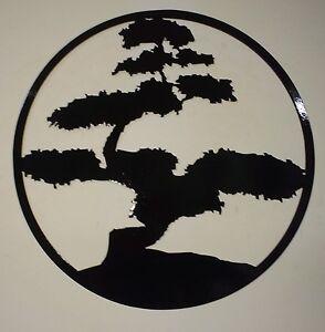 Bonsai Tree Metal Art Black Wall Decor Ebay