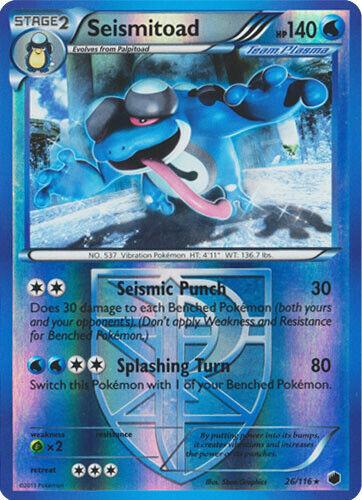 26//116 Rare Reverse Holo Pokemon BW9 Plasma Freeze M//NM x1 Seismitoad