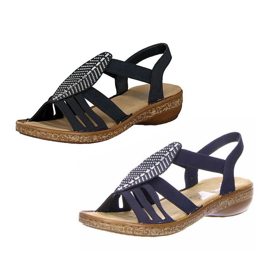 Damen Rieker Keilabsatz Sandalen 628G6